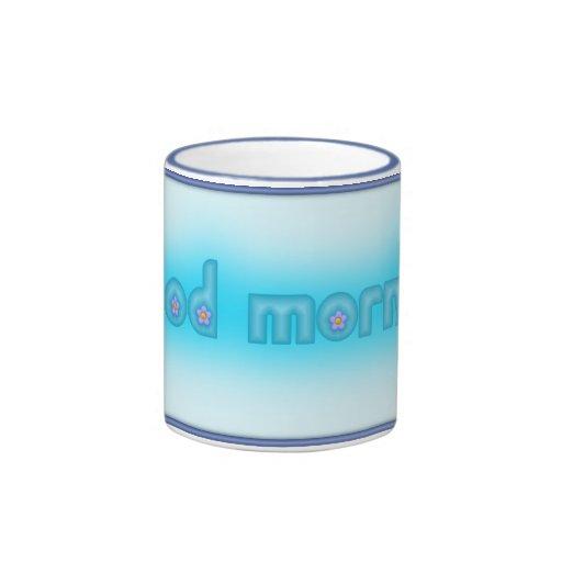 Azul de la buena mañana enmarcado taza a dos colores