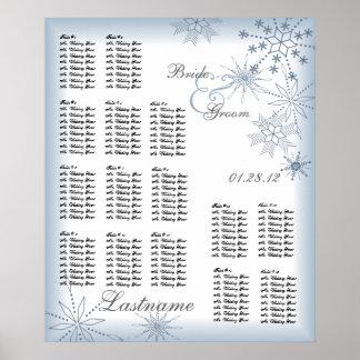 Azul de la carta del asiento del boda del copo de  poster