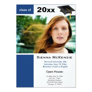 """Azul de la casa abierta de la graduación) invitación 5"""" x 7"""""""