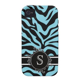 Azul de la cebra y negro brillantes con el monogra iPhone 4 carcasa