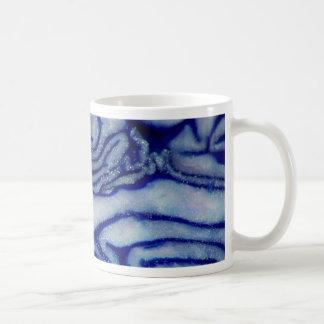Azul de la col taza básica blanca