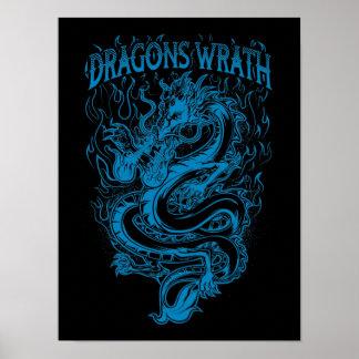 Azul de la cólera de los dragones impresiones