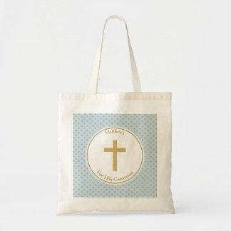 Azul de la comunión con los lunares del oro bolsa tela barata