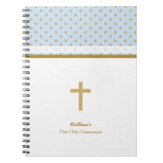 Azul de la comunión con los lunares del oro note book