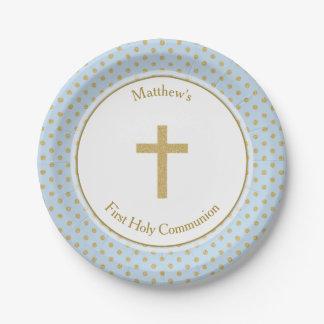 Azul de la comunión con los lunares del oro platos de papel
