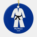 Azul de la correa negra del karate del Taekwondo Adorno Redondo De Cerámica