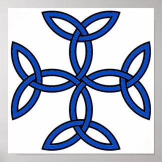 Azul de la cruz céltica 11 póster