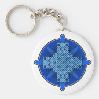 Azul de la cruz céltica 4 llavero