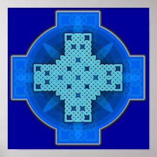 Azul de la cruz céltica 9 póster
