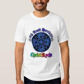azul de la cruz céltica en el círculo negro, remeras