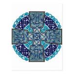 Azul de la cruz céltica tarjetas postales