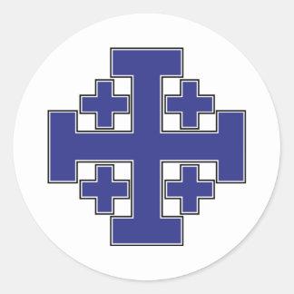 Azul de la cruz de Jerusalén Etiquetas Redondas