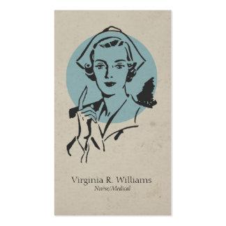 Azul de la enfermera del vintage con el círculo tarjetas de visita
