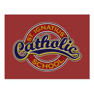 Azul de la escuela católica de St Ignatius en rojo Tarjeta Postal