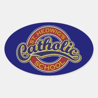 Azul de la escuela católica del St. Hedwig en rojo Calcomanías De Ovales Personalizadas
