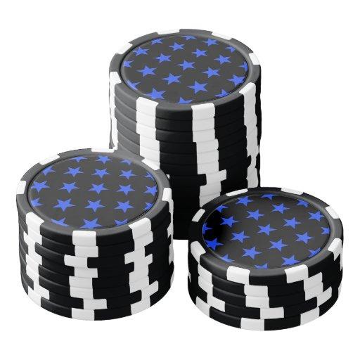 Azul de la estrella 1 fichas de póquer