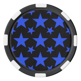 Azul de la estrella 2 juego de fichas de póquer