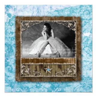 """Azul de la estrella de la tarjeta de la foto del invitación 5.25"""" x 5.25"""""""