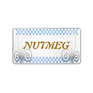 azul de la etiqueta de la especia etiquetas de dirección