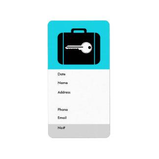Azul de la etiqueta del equipaje etiquetas de dirección