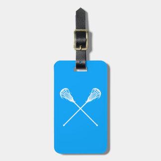 Azul de la etiqueta del equipaje de los palillos d