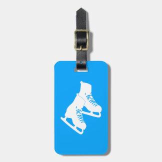 Azul de la etiqueta del equipaje de los patines de etiqueta para maleta