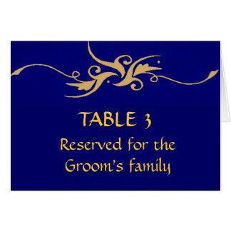 Azul de la familia de los novios y carta del asien felicitaciones