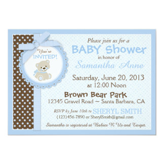 Azul de la fiesta de bienvenida al bebé del bebé invitación 12,7 x 17,8 cm