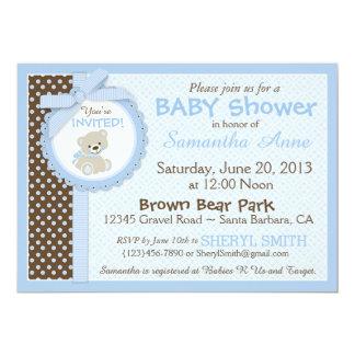 """Azul de la fiesta de bienvenida al bebé del bebé invitación 5"""" x 7"""""""