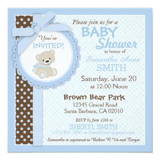 Azul de la fiesta de bienvenida al bebé del invitación 13,3 cm x 13,3cm