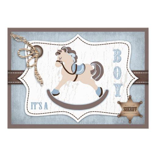 Azul de la fiesta de bienvenida al bebé del vaquer comunicado personalizado