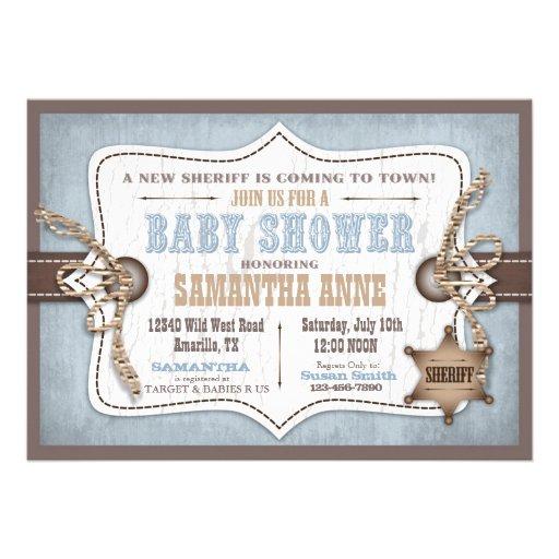 Azul de la fiesta de bienvenida al bebé del vaquer invitación personalizada