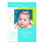 Azul de la fiesta de bienvenida al bebé fresca de invitación personalizada