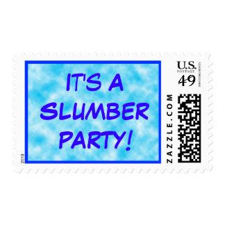 Azul de la fiesta de pijamas sello