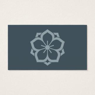 Azul de la flor de cerezo de Kamon del japonés de Tarjetas De Visita