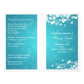 Azul de la flor de cerezo del programa del boda tarjetas informativas