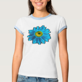 Azul de la flor de la margarita camisas