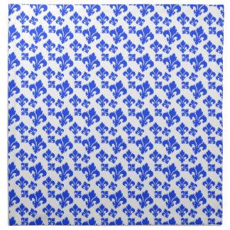 Azul de la flor de lis 4 servilleta de papel