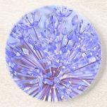 Azul de la flor del allium posavasos diseño