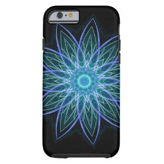 Azul de la flor del fractal - estrella floral de funda de iPhone 6 tough