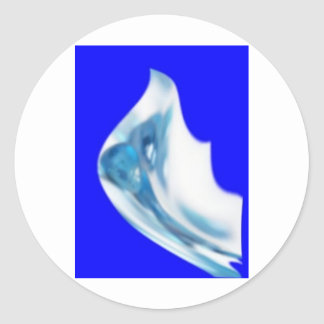 azul de la flor etiquetas redondas