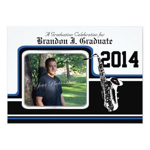 """Azul de la foto de la graduación del saxofón de la invitación 5"""" x 7"""""""