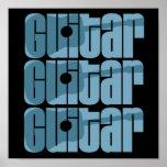 Azul de la guitarra acústica impresiones