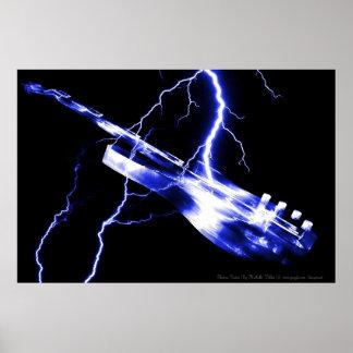 Azul de la guitarra eléctrica póster