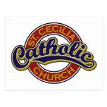 Azul de la iglesia católica de St Cecilia en rojo Postal