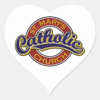 Azul de la iglesia católica de St Mary en rojo Pegatinas Corazon