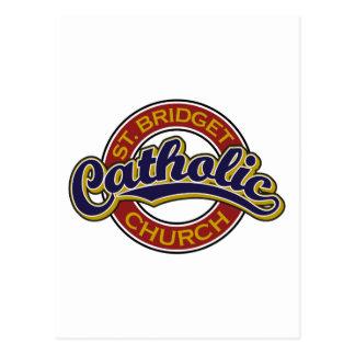 Azul de la iglesia católica del St. Bridget en roj Tarjeta Postal
