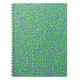 Azul de la impresión del guepardo en verde libretas espirales