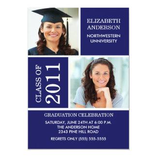 Azul de la invitación de la graduación de la foto