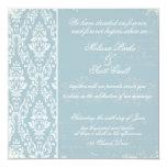 Azul de la invitación del boda del damasco del invitación 13,3 cm x 13,3cm